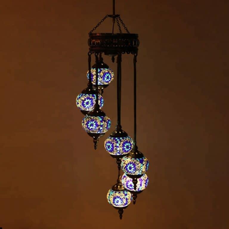 Chandelier Helical 7 Globes Turkish Moroccan